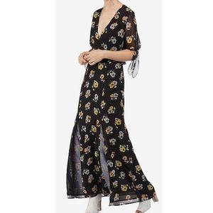 Avec Les Filles Flutter Sleeve Maxi Dress NWT